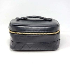 Authentic Chanel Vanity Black Leather Cosmetic Bag
